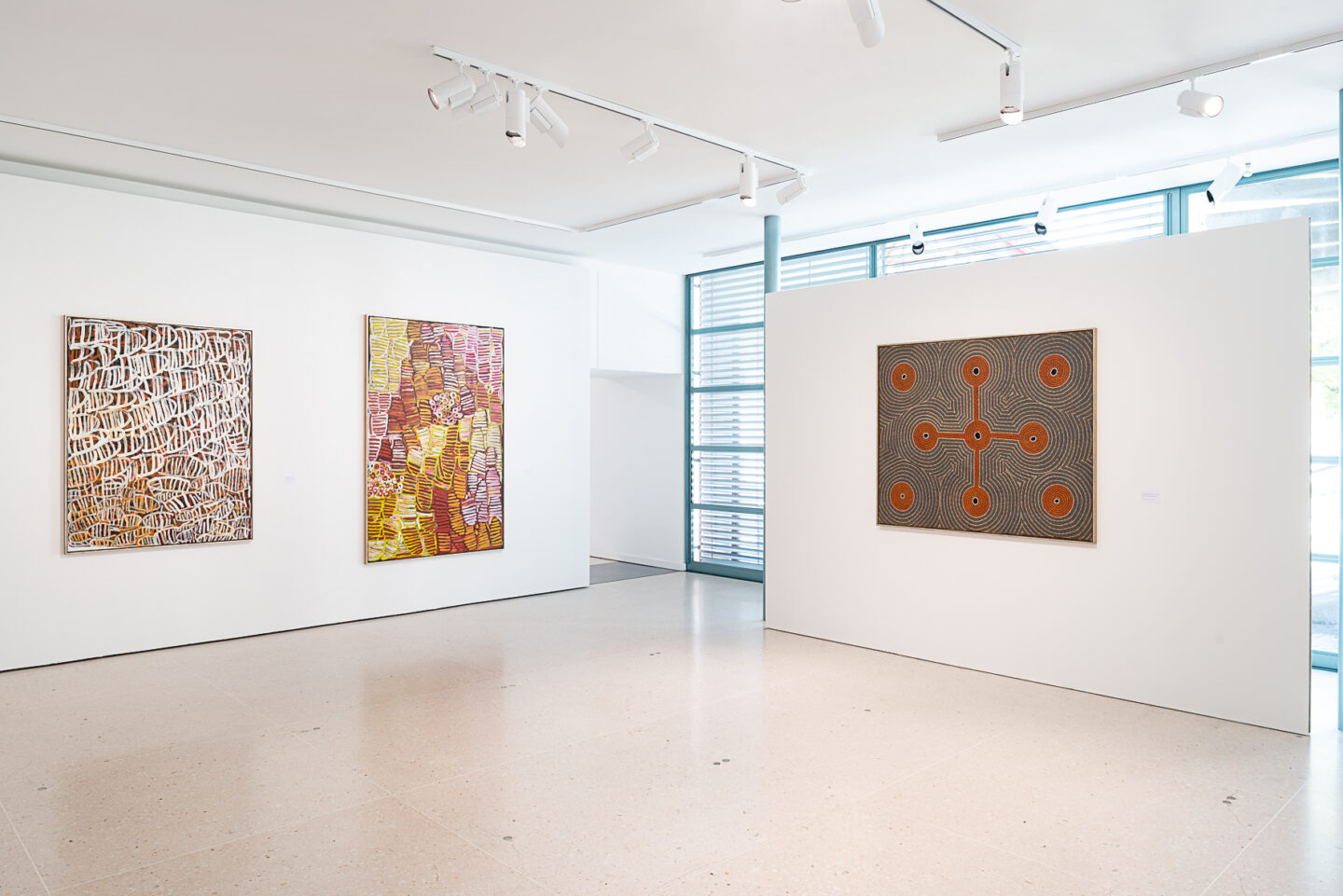 Exhibition View Groupshow «My Mothers Country; view on Minnie Motorcar Pwerle, Awelye Women-Dreaming, 2003 and Awelye Bush Melon Dreaming, 2002; Jimmy Kngale Motorcar, Kakadu Plum Men-Dreaming, 1994» at Kunsthaus Zug, Zug, 2019 / Photo: Jorit Aust / Courtesy: the artists, Collection Clement and Kunsthaus Zug