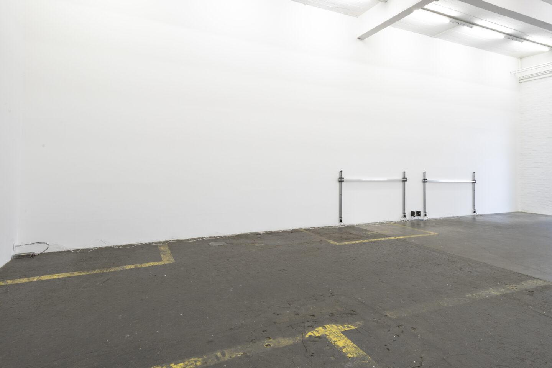 Exhibition View Aaron Flint Jamison Soloshow «Opportunity Zones; view on Applicate 2.1, 2.2, 2019» at Kunst Halle Sankt Gallen, St. Gallen, 2019 / Photo: Sebastian Schaub / Courtesy: the artist and Kunst Halle Sankt Gallen