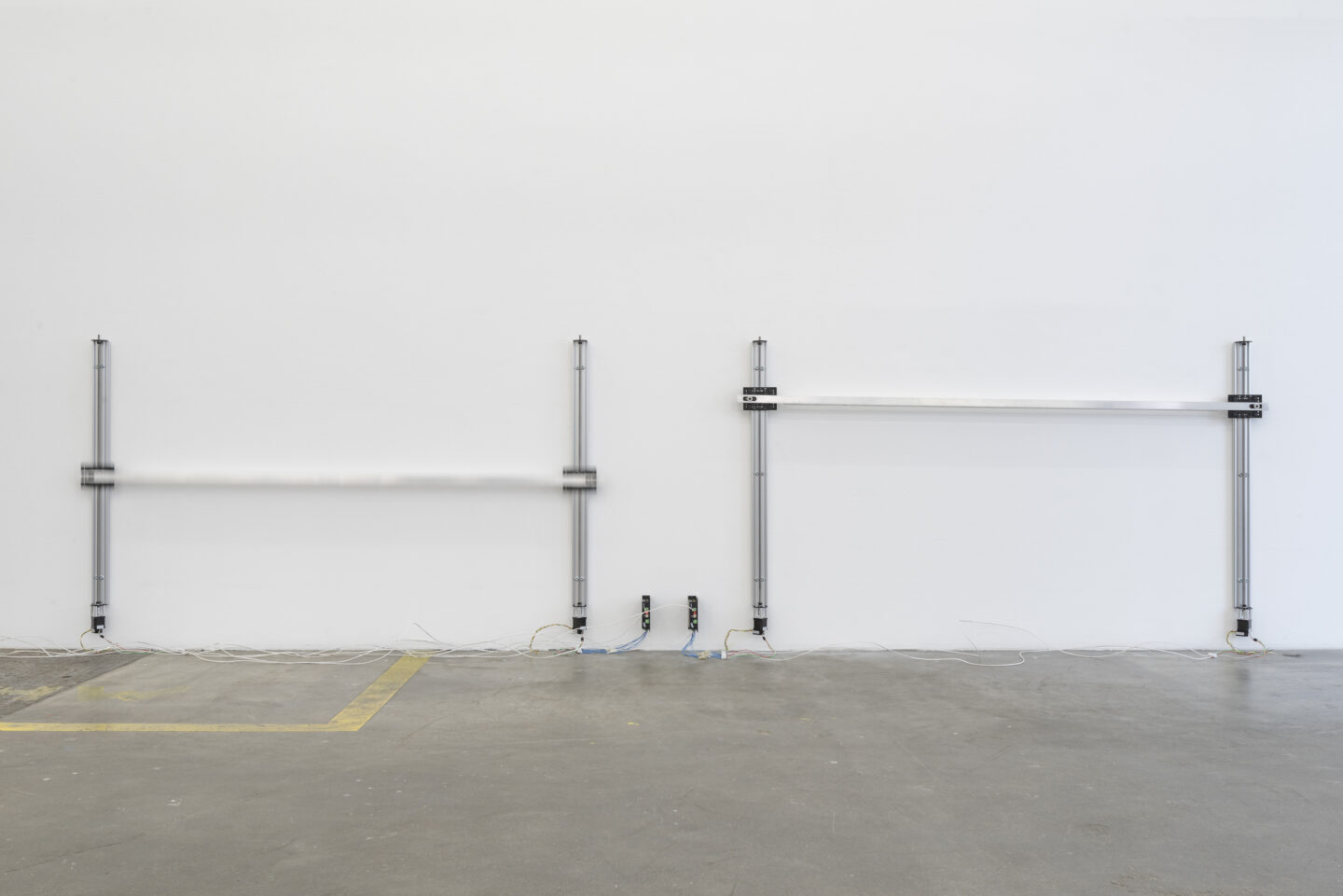 Exhibition View Aaron Flint Jamison Soloshow «Opportunity Zones; view on Applicate 2.1, 2.2, 2019 (detail)» at Kunst Halle Sankt Gallen, St. Gallen, 2019 / Photo: Sebastian Schaub / Courtesy: the artist and Kunst Halle Sankt Gallen
