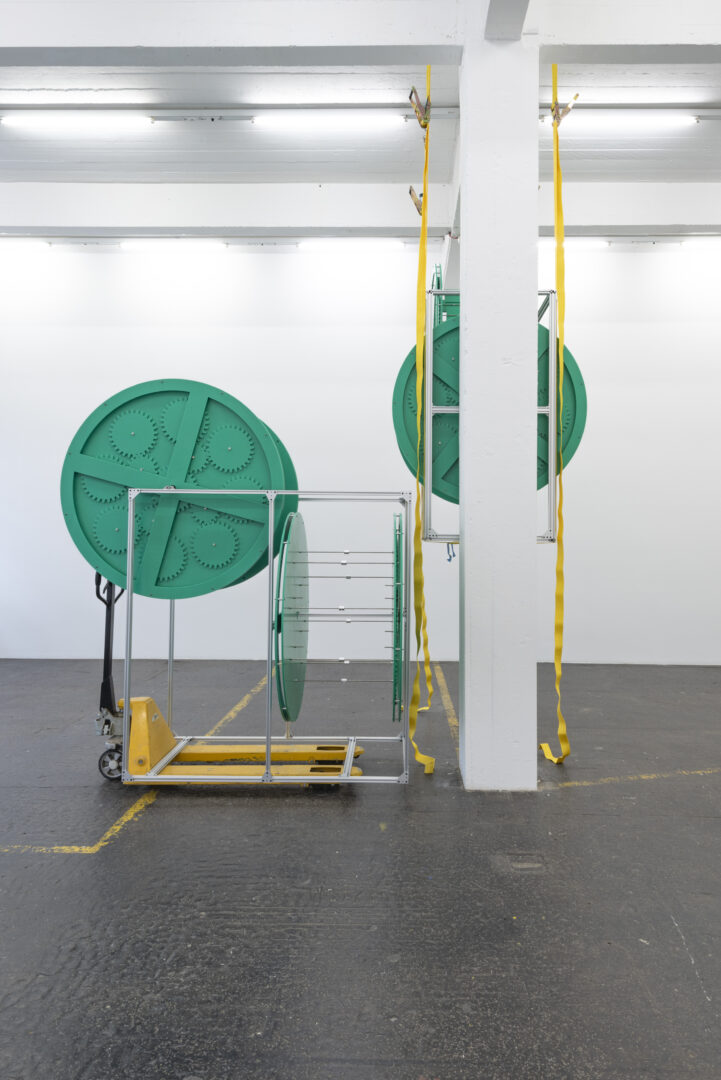 Exhibition View Aaron Flint Jamison Soloshow «Opportunity Zones; view on Opportunity Zone, 2019» at Kunst Halle Sankt Gallen, St. Gallen, 2019 / Photo: Sebastian Schaub / Courtesy: the artist and Kunst Halle Sankt Gallen