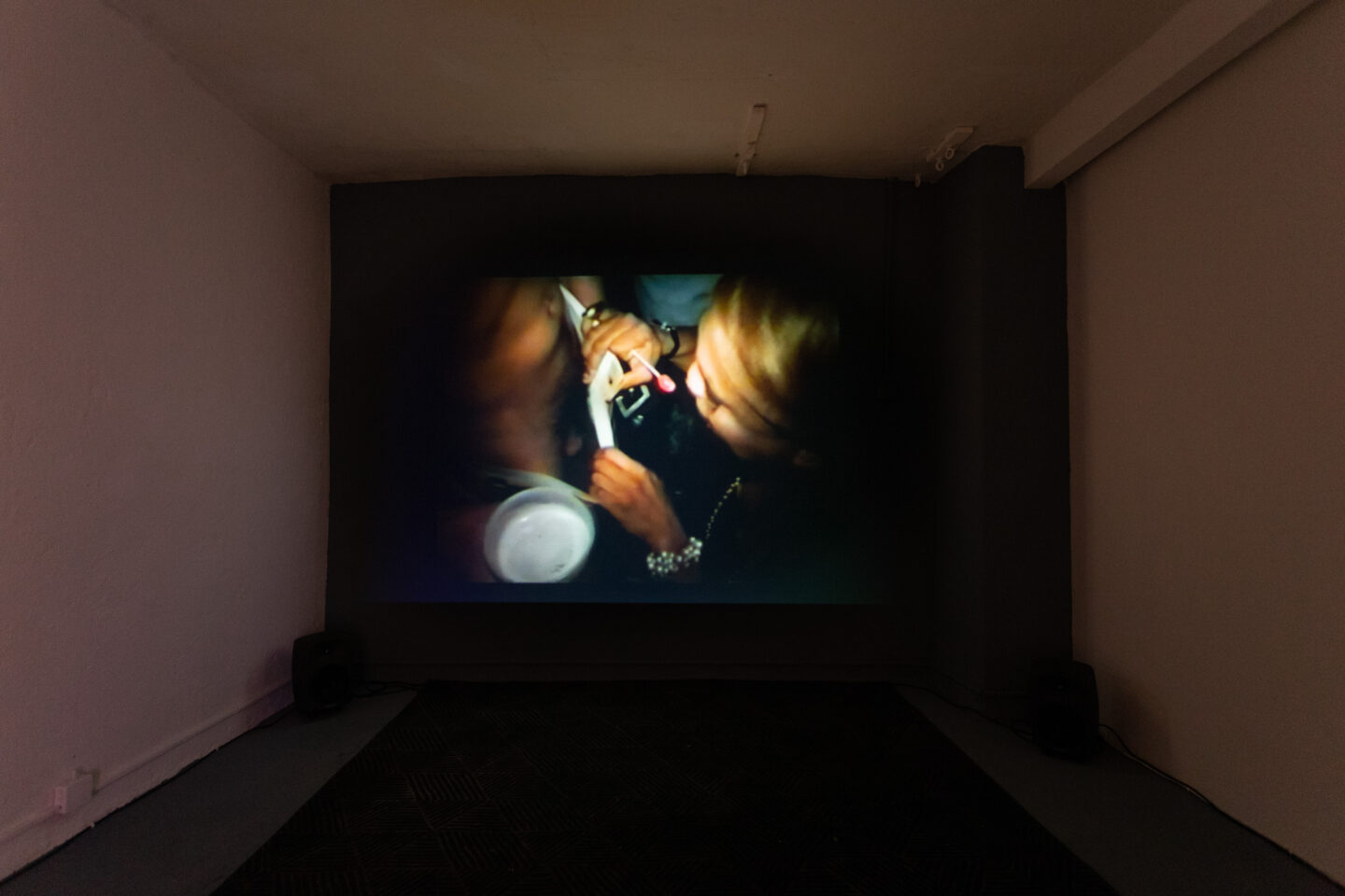 Exhibition View Groupshow «Can You Feel It?; view on Vaginal Davis, Cholita!, 1995, directed by Michelle Mills; Vaginal Davis, The Last Club Sucker, 1999, directed by Vaginal Davis» at Last Tango, Zurich, 2019 / Photo: Kilian Bannwart / Courtesy: the artist, Last Tango and Dan Gunn Gallery