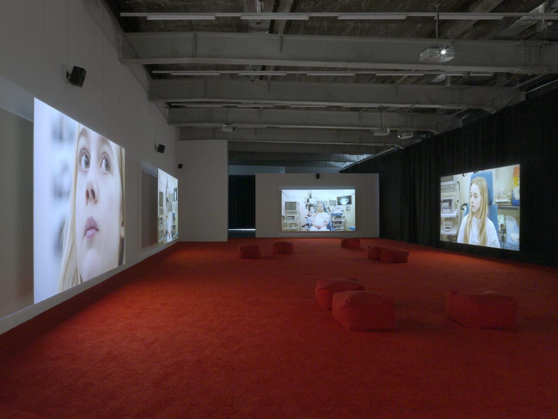 Exbition View Marianna Simnett Soloshow «LAB RATS; view on Blood In My Milk, 2018» at Kunsthalle Zürich, Zurich, 2019 / Photo: Annik Wetter / Courtesy: the artist and Kunsthalle Zürich
