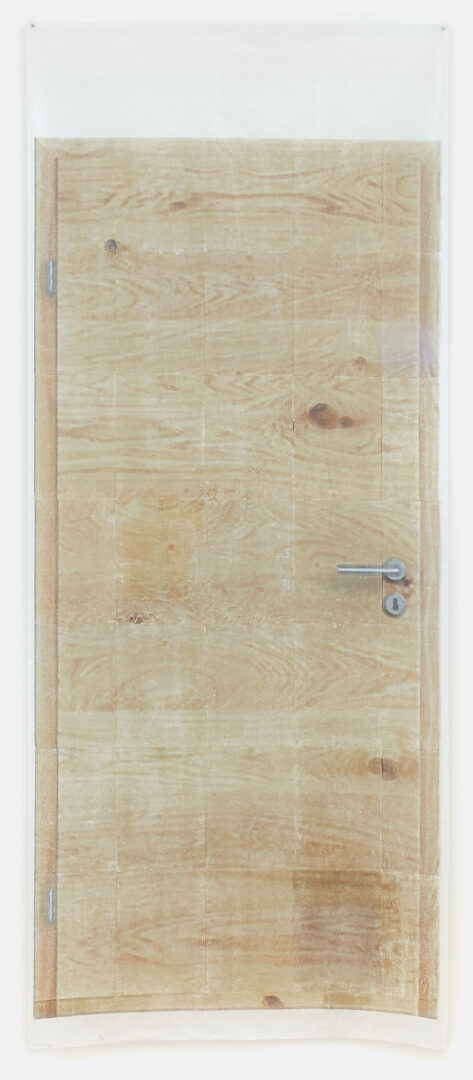 Exhibition View Sarah Lehnerer Soloshow «I could turn myself into it instead of away from it; view on Untitled (door) #1&2, 2019» at Kichgasse, Steckborn, 2019 / Photo: Alex Kern / Courtesy: the artist and Kichgasse