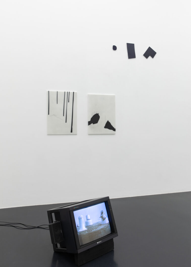 Exhibition View Groupshow «Unterschiedswesen; view on Heidi Bucher, Julia Haller and Imi Knoebel» at von Bartha, S-Chanf, 2019-20 / Photo: Diana Pfammatter / Courtesy: the artists and von Bartha