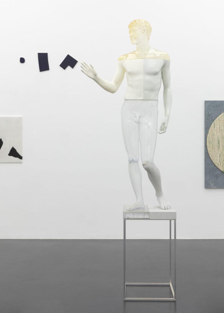 Exhibition View Groupshow «Unterschiedswesen; view on Julia Haller, Imi Knoebel, Oliver Laric and Sam Moyer» at von Bartha, S-Chanf, 2019-20 / Photo: Diana Pfammatter / Courtesy: the artists and von Bartha