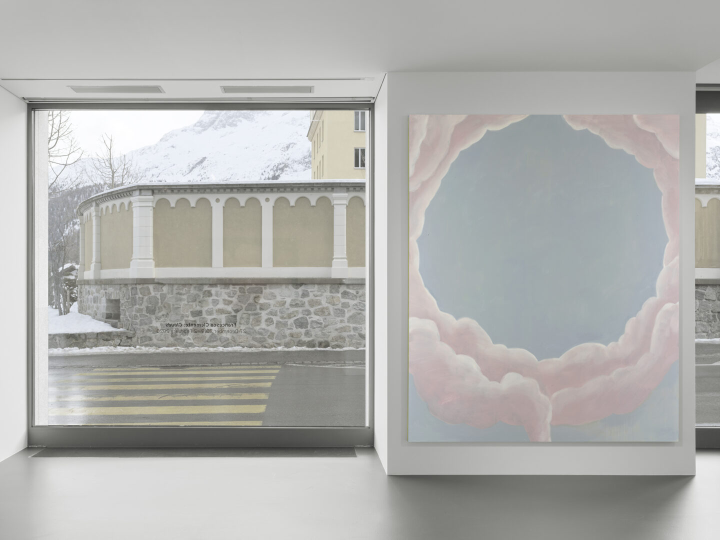 Exhibition View Francesco Clemente Soloshow «Clouds; view on Clouds II, 2018» at Vito Schnabel Gallery, St. Moritz, 2019 / © Francesco Clemente / Photo by Stefan Altenburger / Courtesy: the artist and Vito Schnabel Gallery
