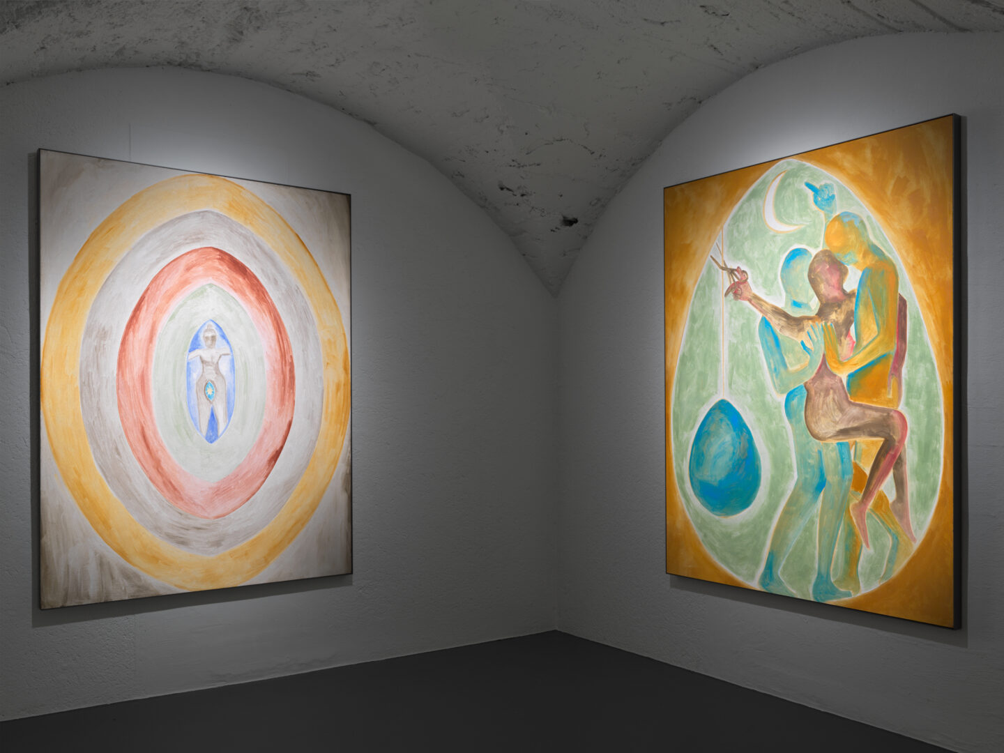 Exhibition View Francesco Clemente Soloshow «Clouds; view on Aspects of the Moon VIII, 2019 and  Aspects of the Moon III, 2019» at Vito Schnabel Gallery, St. Moritz, 2019 / © Francesco Clemente / Photo by Stefan Altenburger / Courtesy: the artist and Vito Schnabel Gallery