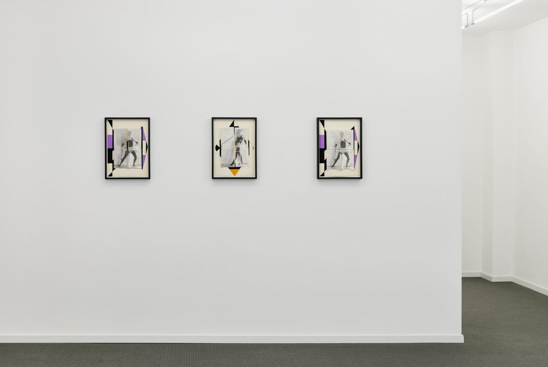 """Exhibition View Groupshow «La metamorphose de l'art imprime; view on Valérie Favre, Als eine abstrakt Komposition über """"Ein Zimmer für sich allein"""" 2 and Als eine abstrakt Komposition über """"Ein Zimmer für sich allein"""" 1, 2019 (both)» at VFO, Zurich, 2019 / Photo: Bernhard Strauss / Courtesy: the artist and VFO, Zurich"""