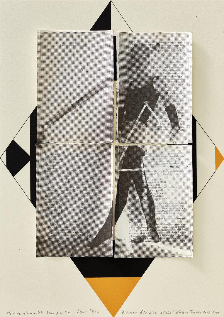 """Exhibition View Groupshow «La metamorphose de l'art imprime; view on Valérie Favre, Als eine abstrakt Komposition über """"Ein Zimmer für sich allein"""" 1, 2019 (edition of 30 unique ones)» at VFO, Zurich, 2019 / Photo: Bernhard Strauss / Courtesy: the artist and VFO, Zurich"""