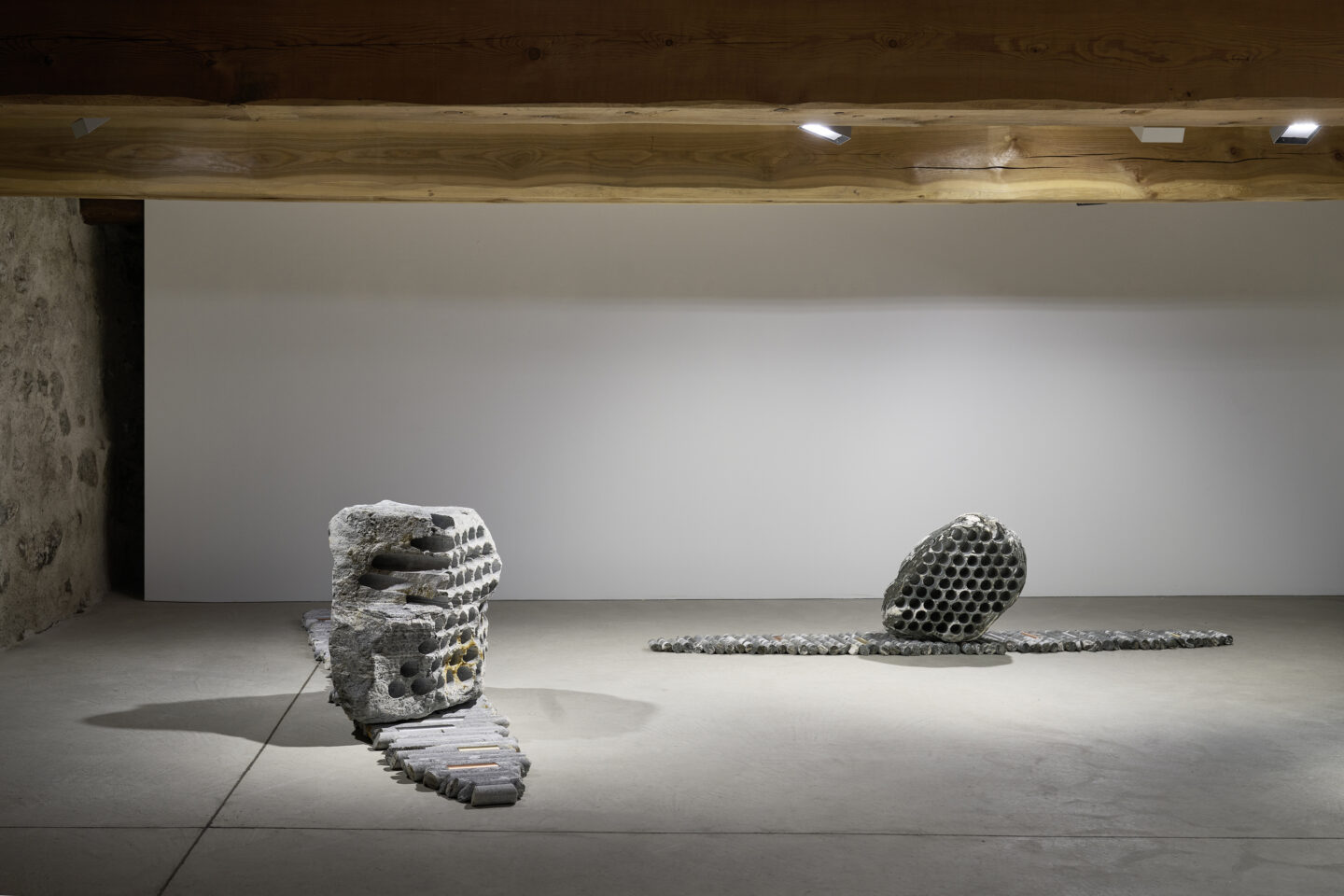 Exhibition View Groupshow «Absolutely Tschudi; view on Julian Charrière, Not All Who Wander Are Lost, 2019» at Galerie Tschudi, Zuoz, 2019 / Photo: Ralph Feiner, Malans / Courtesy: the artists and Galerie Tschudi, Zuoz