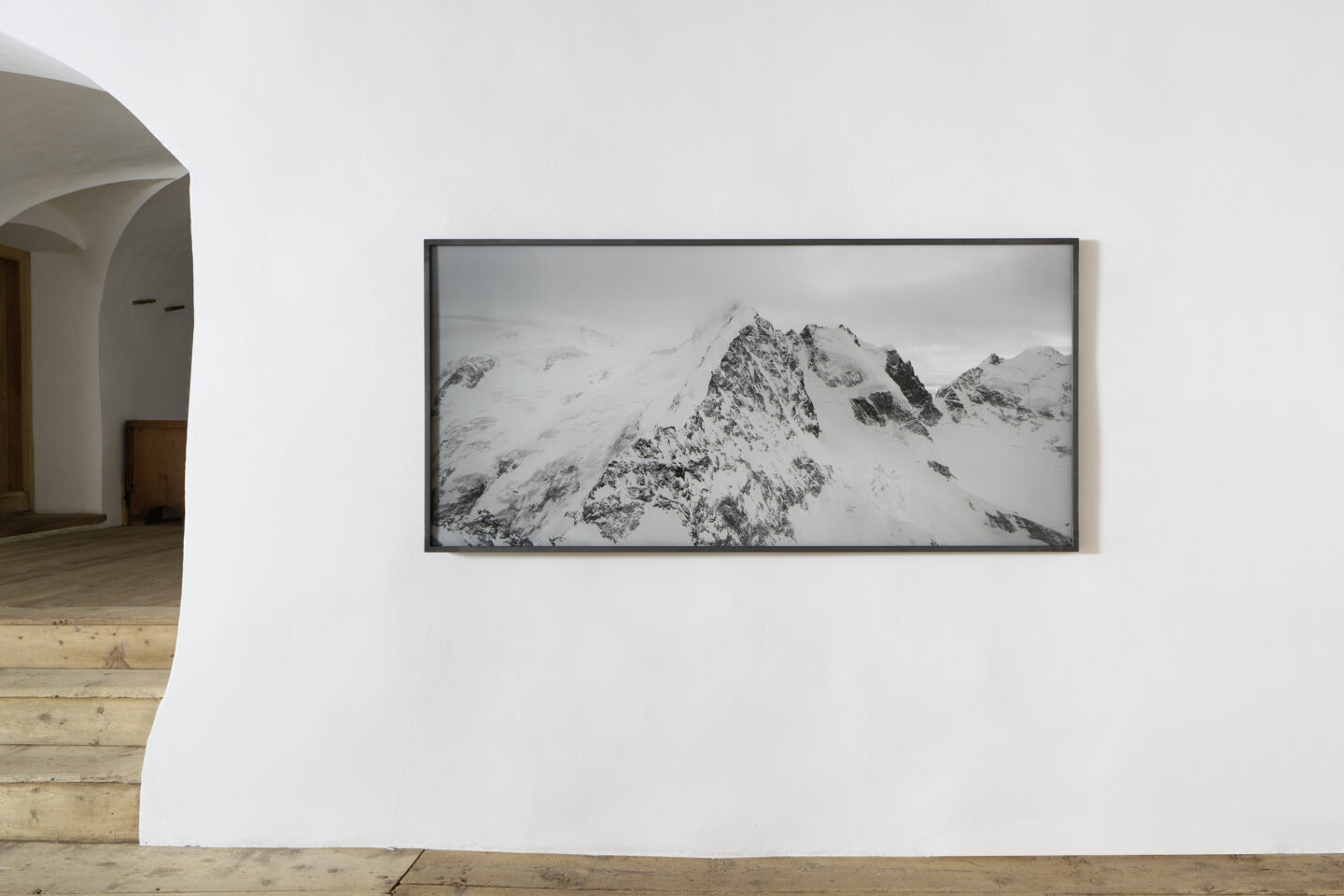 Exhibition View Groupshow «Absolutely Tschudi; view on Balthasar Burkhard, Bernina, 2004» at Galerie Tschudi, Zuoz, 2019 / Photo: Ralph Feiner, Malans / Courtesy: the artists and Galerie Tschudi, Zuoz