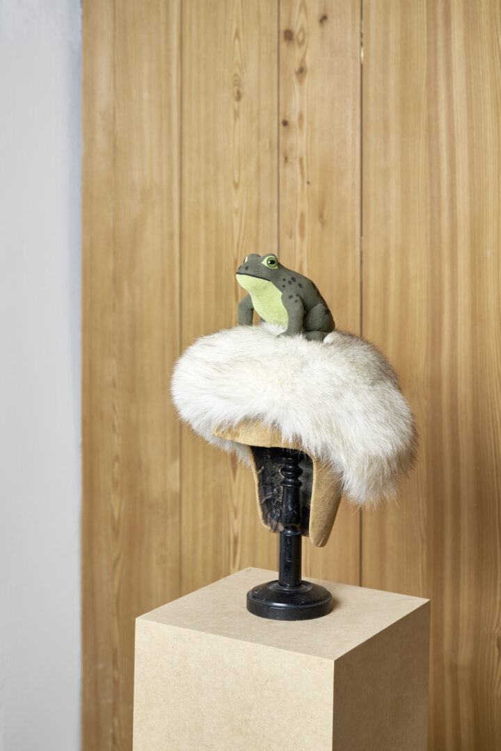 Exhibition View Groupshow «Absolutely Tschudi; view on Bethan Huws, ZFrog, (if I was a frog i will live in a fountain), 2011» at Galerie Tschudi, Zuoz, 2019 / Photo: Ralph Feiner, Malans / Courtesy: the artists and Galerie Tschudi, Zuoz