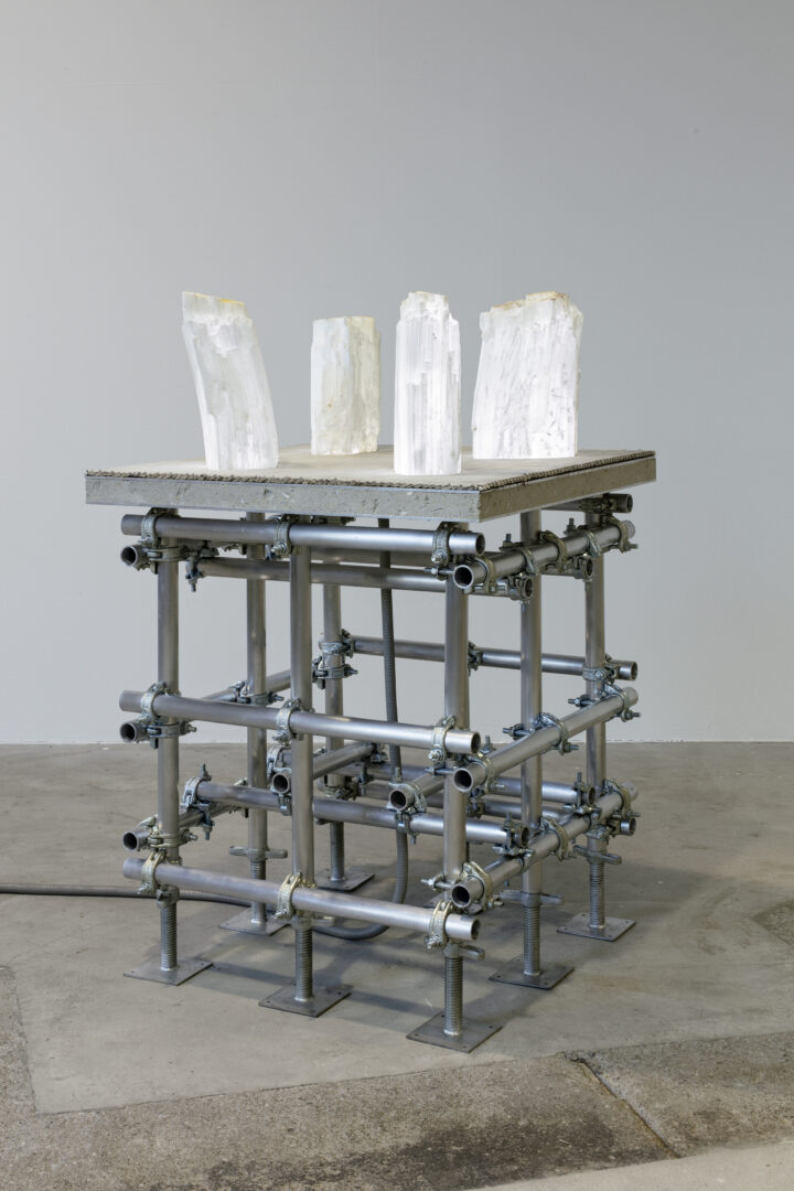 Exhibition View Siobhán Hapaska Soloshow (view on Four Angels, 2012) at Lokremise, 2020, St. Gallen, presented by Kunstmuseum St. Gallen / Photo: Stefan Rohner / Courtesy: the artist and Kunstmuseum St. Gallen