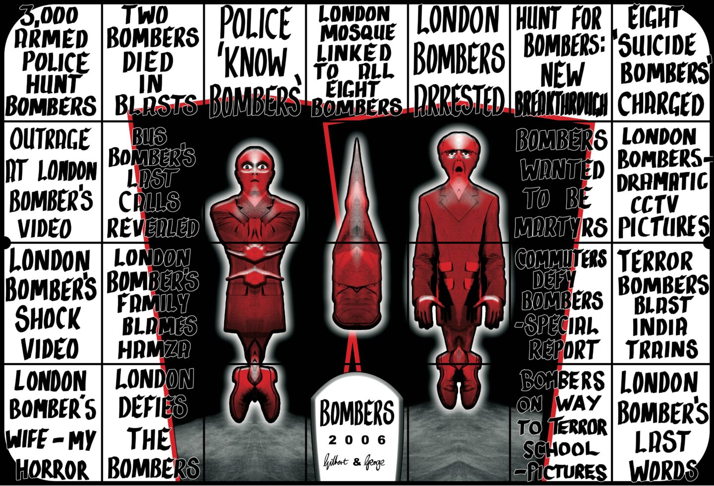 Exhibition View Gilbert & George «THE GREAT EXHIBITION, 1971–2016; view on BOMBERS, 2006» at Kunsthalle Zürich & Luma Westbau, Zurich, 2020 / © Gilbert & George / Courtesy: the artists, Kunsthalle Zürich & Luma Westbau
