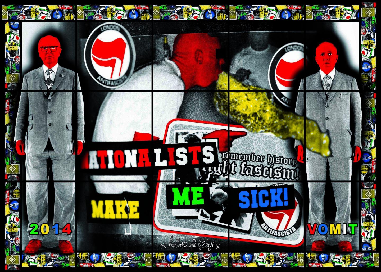 Exhibition View Gilbert & George «THE GREAT EXHIBITION, 1971–2016; view on VOMIT, 2014» at Kunsthalle Zürich & Luma Westbau, Zurich, 2020 / © Gilbert & George / Courtesy: the artists, Kunsthalle Zürich & Luma Westbau