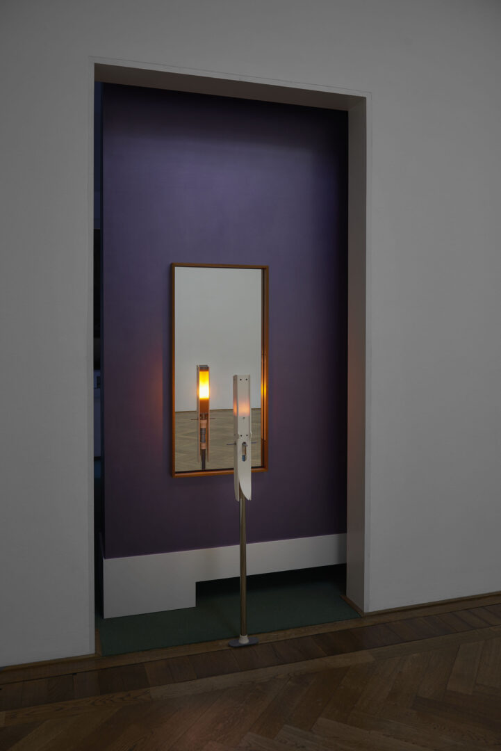 Exhibition View Camille Blatrix Soloshow «Standby Mice Station; view on Stork, 2020 (front) and Two Candles, 2018 (back)» at Kunthalle Basel, Basel, 2020 / Photo: Philipp Hänger / Courtesy: the artist; Galerie Balice Hertling, Paris, and Andrew Kreps Gallery, New York