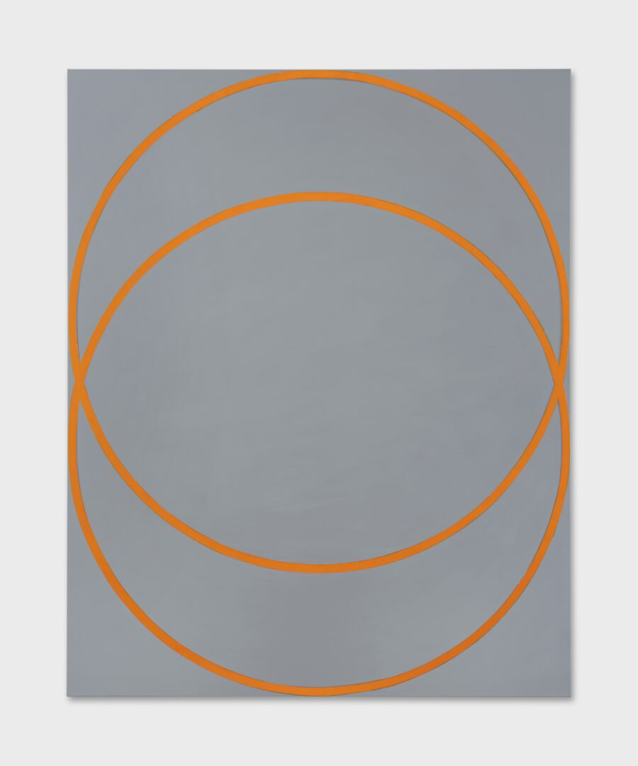 Exhibition View David Malek Soloshow «Binaries; view on Two Orange Circles, 2019» at Ribordy Thetaz, Geneva, 2020 / Photo: Julien Gremaud / Courtesy: the artist and Ribordy Thetaz