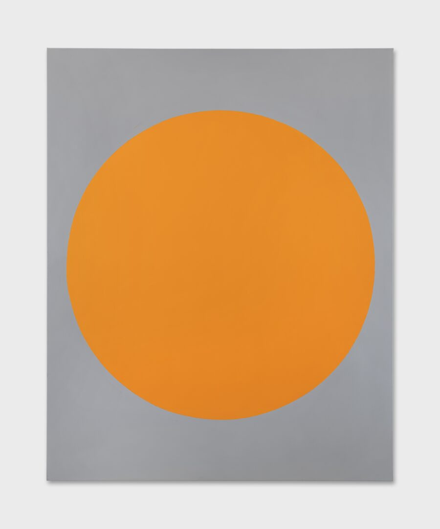 Exhibition View David Malek Soloshow «Binaries; view on Yellow Orange Disk, 2019» at Ribordy Thetaz, Geneva, 2020 / Photo: Julien Gremaud / Courtesy: the artist and Ribordy Thetaz