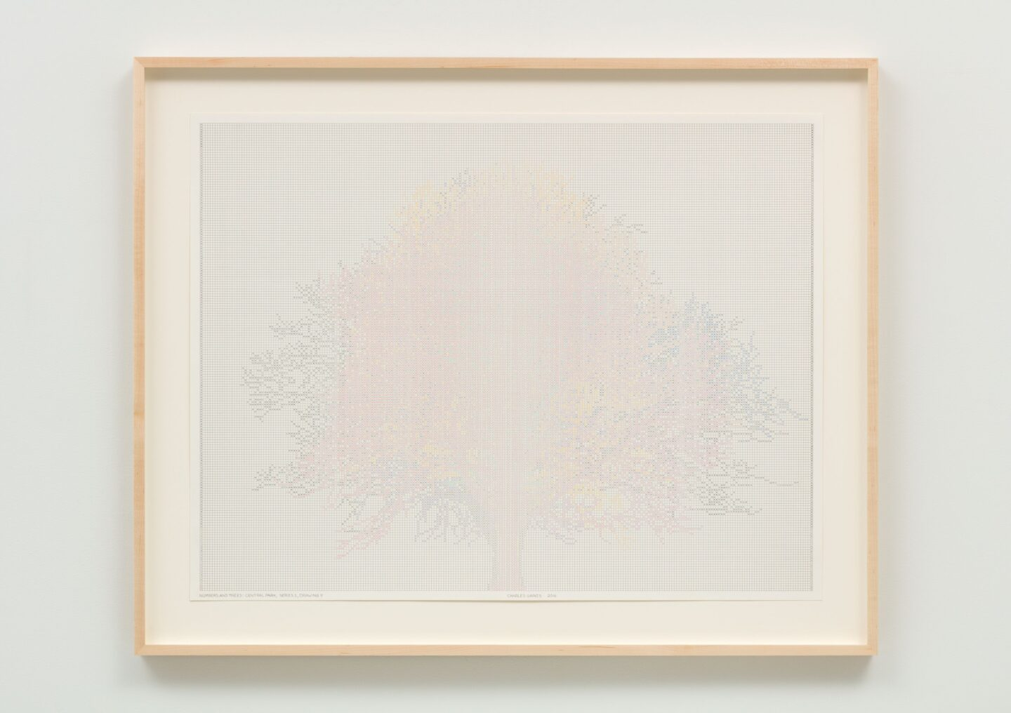 Exhibition View Charles Gaines Soloshow «Drawings; view on Numbers and Trees: Central Park, Series I, Drawing 9, 2016» at Hauser & Wirth, St. Moritz, 2020 / Photo: Fredrik Nilsen / © Charles Gaines / Courtesy: the artist and Hauser & Wirth