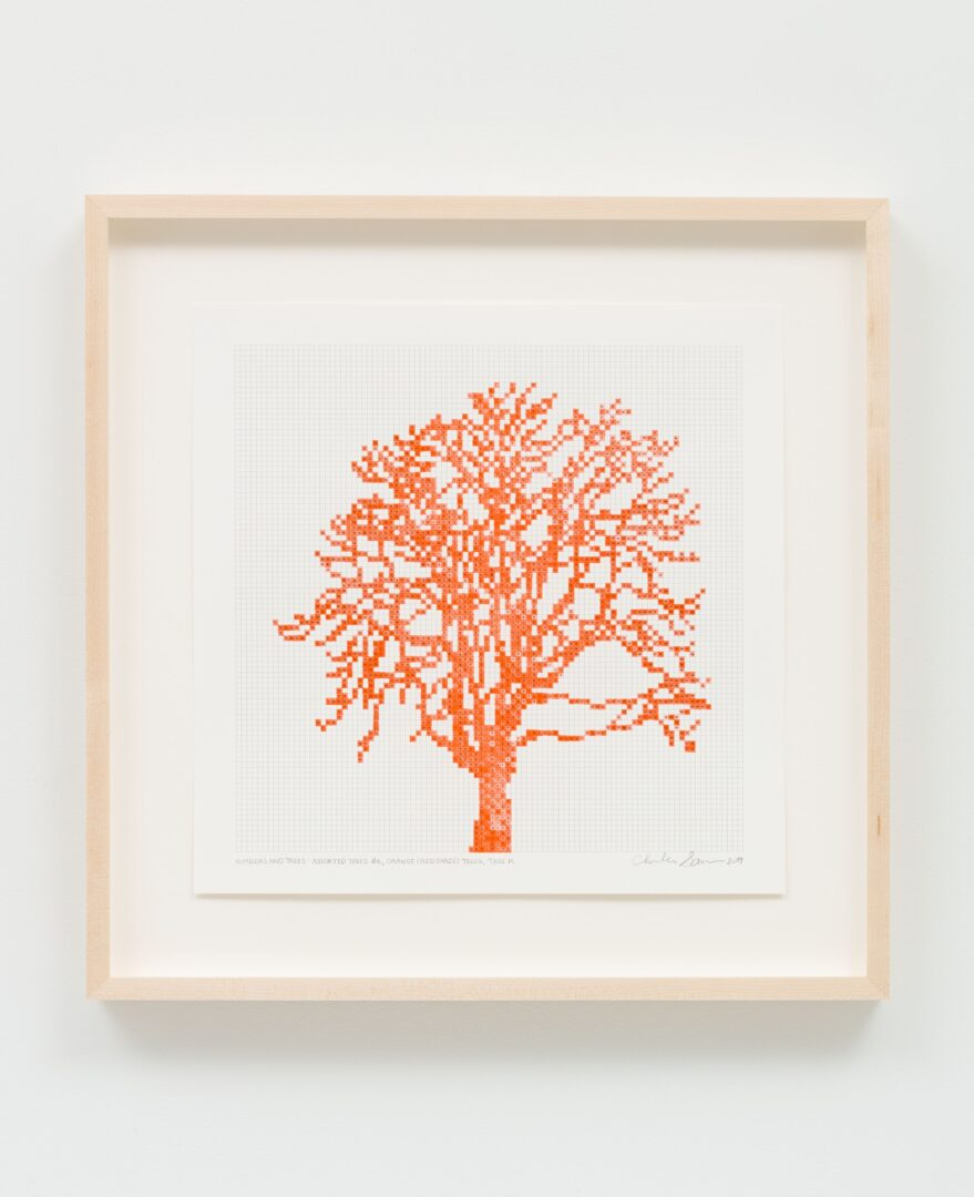 Exhibition View Charles Gaines Soloshow «Drawings; view on Numbers and Trees: Assorted Trees #6, Orange (Red Shade) Trees, Tree K, 2019» at Hauser & Wirth, St. Moritz, 2020 / Photo: Fredrik Nilsen / © Charles Gaines / Courtesy: the artist and Hauser & Wirth