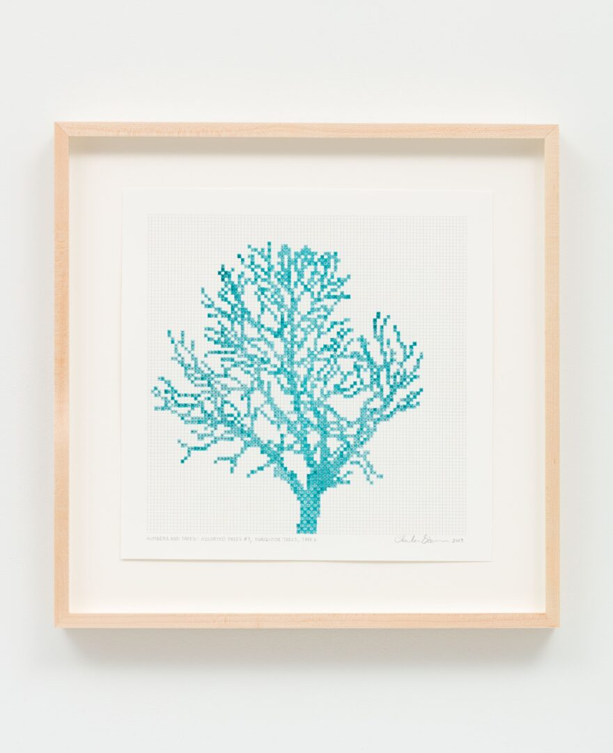 Exhibition View Charles Gaines Soloshow «Drawings; view on Numbers and Trees: Assorted Trees #7, Turquoise Trees, Tree F, 2019» at Hauser & Wirth, St. Moritz, 2020 / Photo: Fredrik Nilsen / © Charles Gaines / Courtesy: the artist and Hauser & Wirth