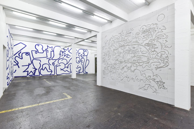 Exhibition View Groupshow «La fine ligne; view on Marine Julié, Simon Paccaud» at Kunst Halle Sankt Gallen, St. Gallen, 2020 / Photo: Kunst Halle Sankt Gallen, Sebastian Schaub