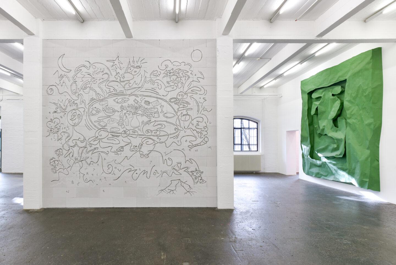 Exhibition View Groupshow «La fine ligne; view on Simon Paccaud, Simone Holliger» at Kunst Halle Sankt Gallen, St. Gallen, 2020 / Photo: Kunst Halle Sankt Gallen, Sebastian Schaub