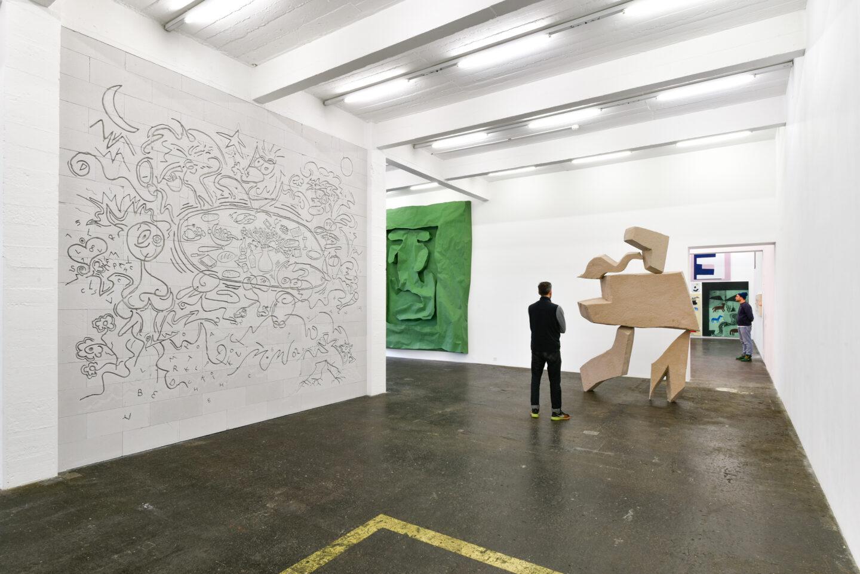 Exhibition View Groupshow «La fine ligne; view on Simon Paccaud, Simone Holliger, Linus Bill and Adrien Horni» at Kunst Halle Sankt Gallen, St. Gallen, 2020 / Photo: Kunst Halle Sankt Gallen, Sebastian Schaub
