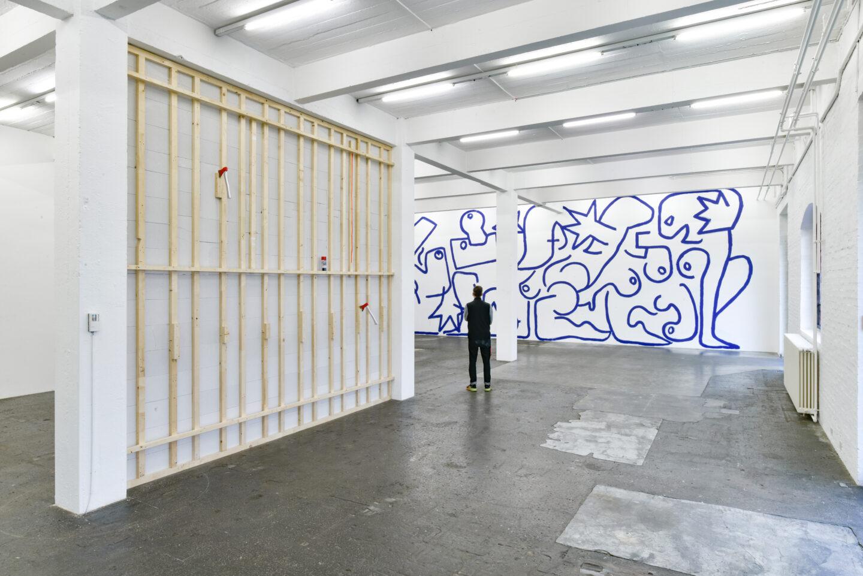 Exhibition View Groupshow «La fine ligne; view on Simon Paccaud, Marine Julié.» at Kunst Halle Sankt Gallen, St. Gallen, 2020 / Photo: Kunst Halle Sankt Gallen, Sebastian Schaub