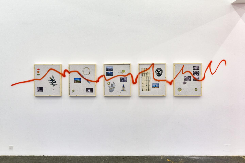 Exhibition View Groupshow «La fine ligne; view on Simon Paccaud, Cellular 20, 2020» at Kunst Halle Sankt Gallen, St. Gallen, 2020 / Photo: Kunst Halle Sankt Gallen, Sebastian Schaub / Courtesy: the artist