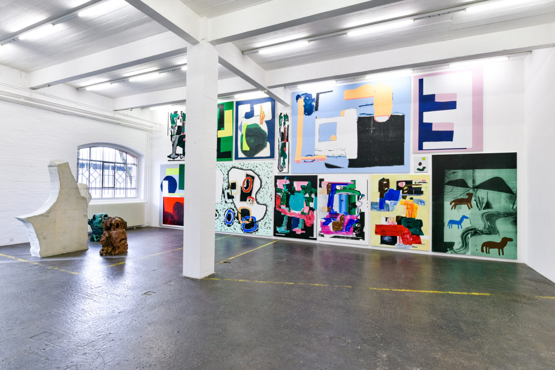 Exhibition View Groupshow «La fine ligne; view on Linus Bill and Adrien Horni» at Kunst Halle Sankt Gallen, St. Gallen, 2020 / Photo: Kunst Halle Sankt Gallen, Sebastian Schaub