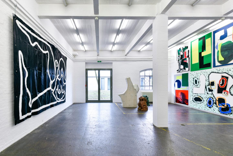 Exhibition View Groupshow «La fine ligne; view on Marine Julié, Linus Bill and Adrien Horni» at Kunst Halle Sankt Gallen, St. Gallen, 2020 / Photo: Kunst Halle Sankt Gallen, Sebastian Schaub