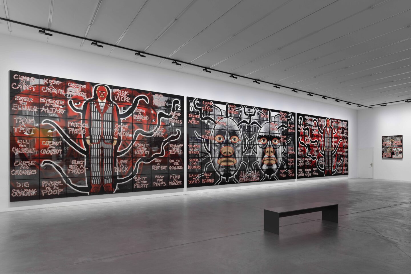 Exhibition View Gilbert & George «THE GREAT EXHIBITION, 1971–2016» at Kunsthalle Zürich & Luma Westbau, Zurich, 2020 / Photo: Stefan Altenburger / Courtesy: the artists, Kunsthalle Zürich & Luma Westbau