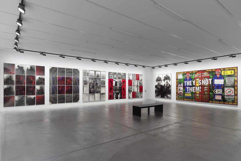 Exhibition View Gilbert & George «THE GREAT EXHIBITION, 1971–2016» at Kunsthalle Zürich & Luma Westbau, Zurich, 2020 / Photo: Stefan Altenburger / Courtesy: the artists, Kunsthalle Zürich & Luma Westbau
