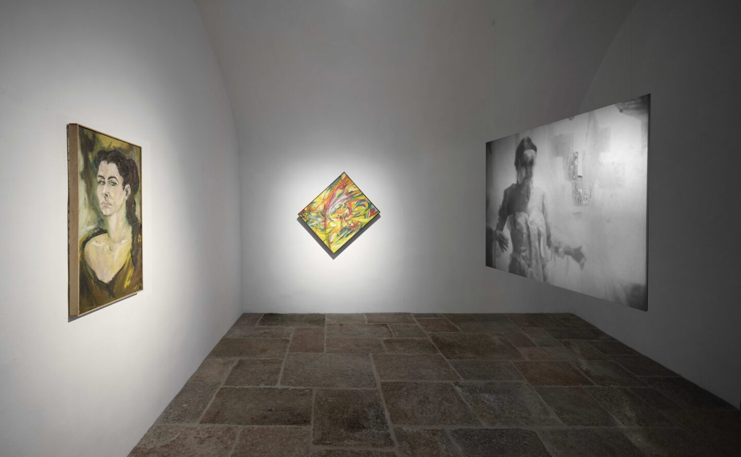 Exhibition View Groupshow «Up to and Including Limits: After Carolee Schneemann; view on Carolee Schneemann, Self-portrait, 1954-55, Pin Wheel, 1957 and Body Collage, 1967» at Muzeum Susch, Susch, 2019-2020 / Photo: Maja Wirkus / Courtesy: the artist and Muzeum Susch
