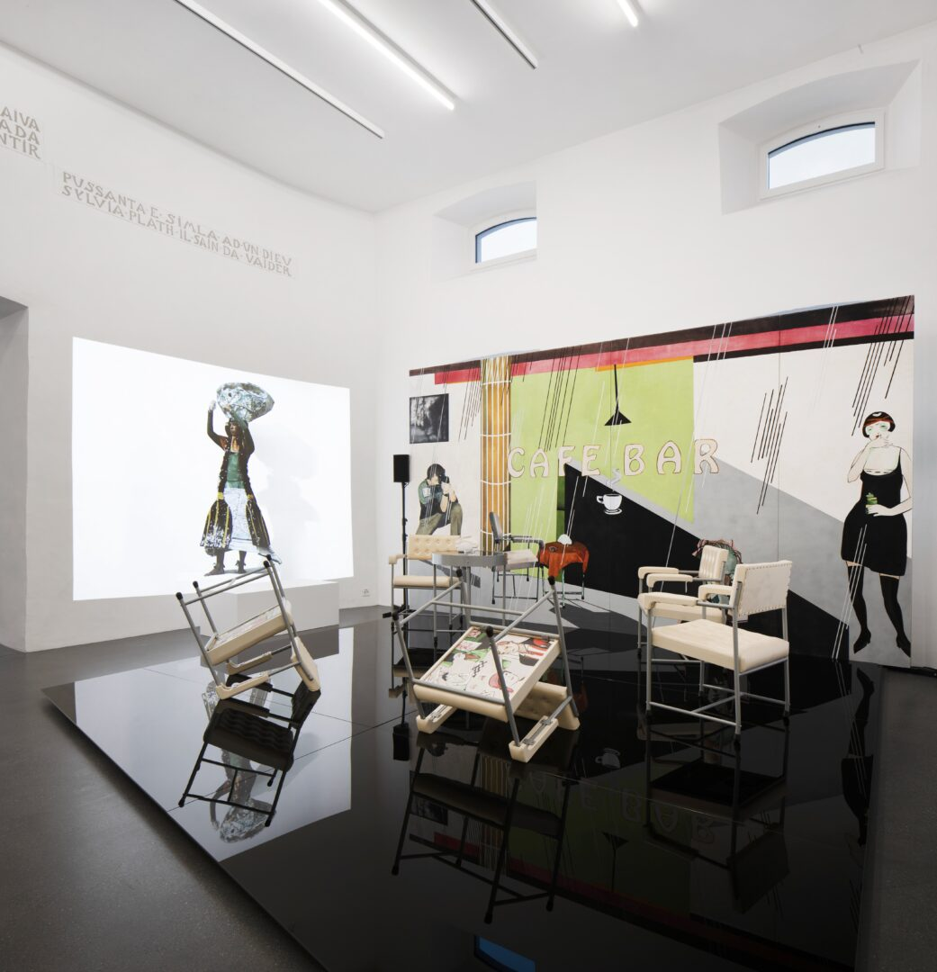 Exhibition View Groupshow «Up to and Including Limits: After Carolee Schneemann; view on Paulina Olowska, Cafe Bar, 2011–2018 and Morana, 2019» at Muzeum Susch, Susch, 2019-2020 / Photo: Maja Wirkus / Courtesy: the artist and Muzeum Susch