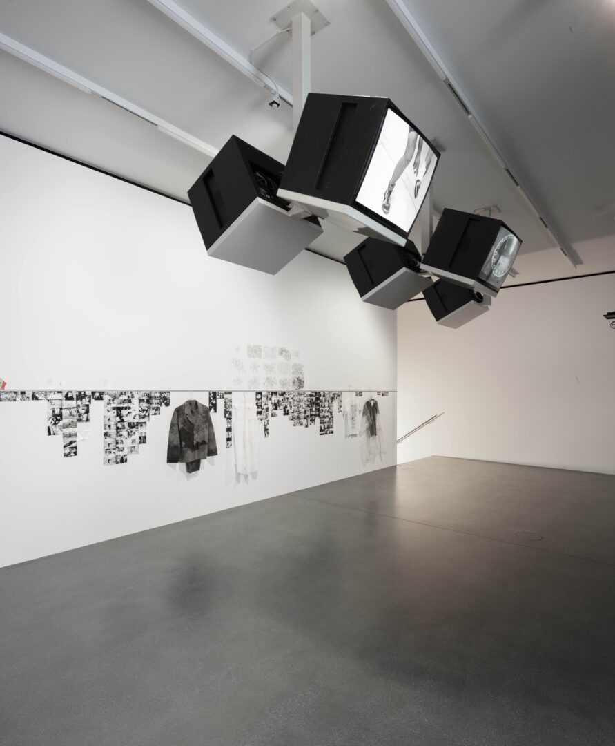Exhibition View Groupshow «Up to and Including Limits: After Carolee Schneemann; view on Matthew Barney, from the Drawing Restraint series, 1988 and Lia Perjovschi Experiments and Performances (1987–2010), 2019» at Muzeum Susch, Susch, 2019-2020 / Photo: Maja Wirkus / Courtesy: the artist and Muzeum Susch