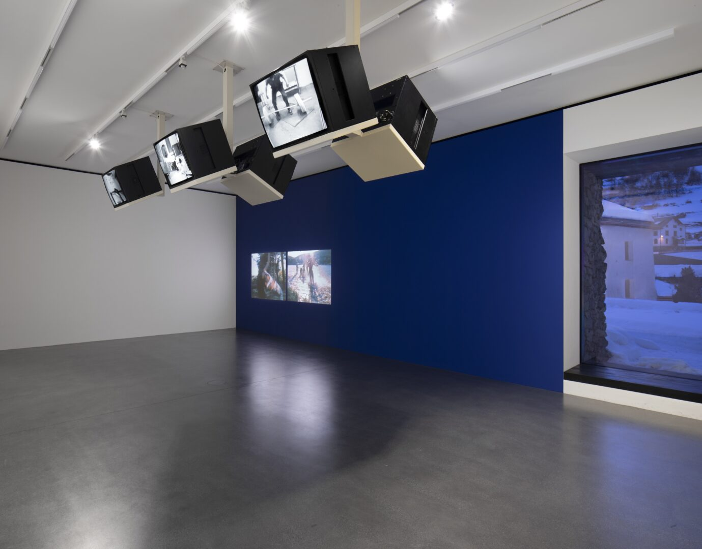 Exhibition View Groupshow «Up to and Including Limits: After Carolee Schneemann; view on Matthew Barney, from the Drawing Restraint series, 1988 and Carolee Schneemann, Water Light / Water Needle, 1966» at Muzeum Susch, Susch, 2019-2020 / Photo: Maja Wirkus / Courtesy: the artist and Muzeum Susch