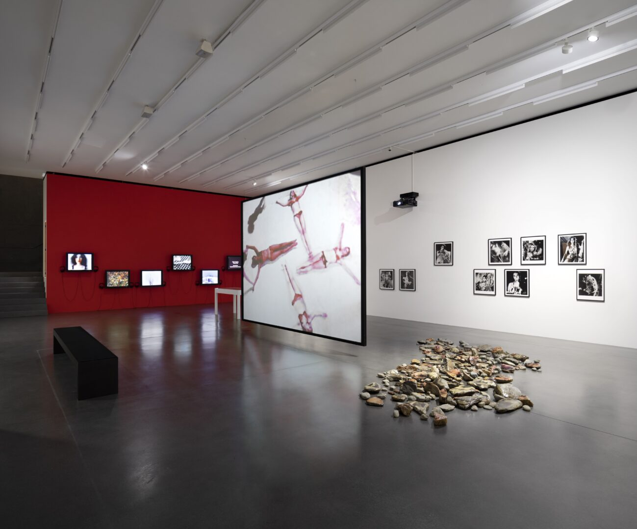 Exhibition View Groupshow «Up to and Including Limits: After Carolee Schneemann; view on Carolee Schneemann, Meat Joy, 1964/2008 and Aura Rosenberg, Dialectical Porn Rock Circle, 1990–1993» at Muzeum Susch, Susch, 2019-2020 / Photo: Maja Wirkus / Courtesy: the artist and Muzeum Susch