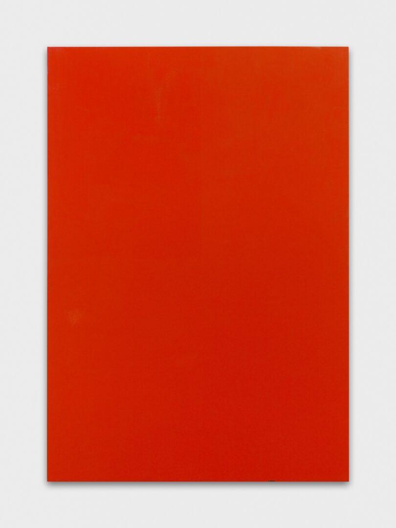 Exhibition View Emil Michael Klein Soloshow «Mono Cross; view on Cadmium Orange, 2019» at Galerie Francesca Pia, Zurich, 2020 / Photo: Annik Wetter / Courtesy: the artist and Galerie Francesca Pia