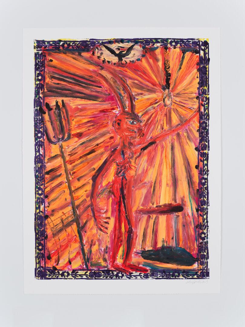 Exhibition View Josh Smith Soloshow «Life; view on Untitled, 2019, (Monotype on paper, unique)» at Galerie Eva Presenhuber, Rämistrasse, Zurich, 2020 / © Josh Smith / Photo: Farzad Owrang / Courtesy: the artist, David Zwirner, and Galerie Eva Presenhuber, Zurich / New York