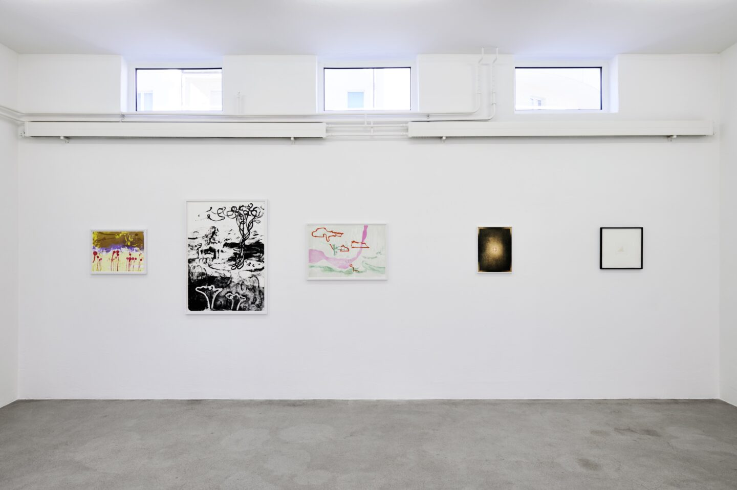 Exhibition View Groupshow «Intaglio and Lithography: Works on Paper; view on Rebekka Steiger, Caroline Bachmann and Not Vital» at Edition VFO, Zurch, 2020 / Photo: Sabina Bosch / Courtesy: the artists and Edition VFO