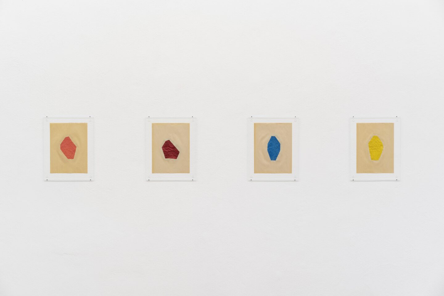 Exhibition View Marc Camille Chaimowicz Soloshow «Dear Valérie…; view on Nancy Brooks Brody, Big Lovely, Yellow, Blue, Red and Pink, all 2013» at Kunsthalle Bern, Bern, 2020 / Photo: Gunnar Meier / Courtesy: the artist and Kunsthalle Bern