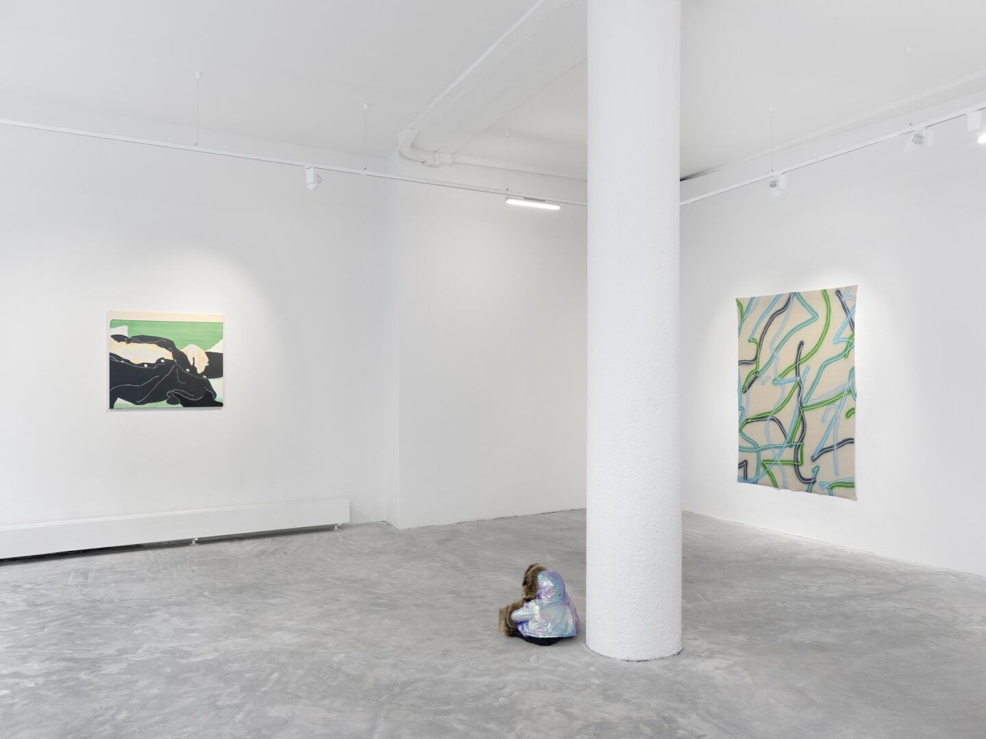 Exhibition View Groupshow «Swiss Made, Chapter II; view on David Weishaar, Rest on Green, 2019, Denis Savary, Öyvind, 2015, Christelle Kahla, Dermaplast, 2018» at Ribordy Thetaz, Geneva, 2020 / Photo: Annik Wetter / Courtesy: the artists and Ribordy Thetaz