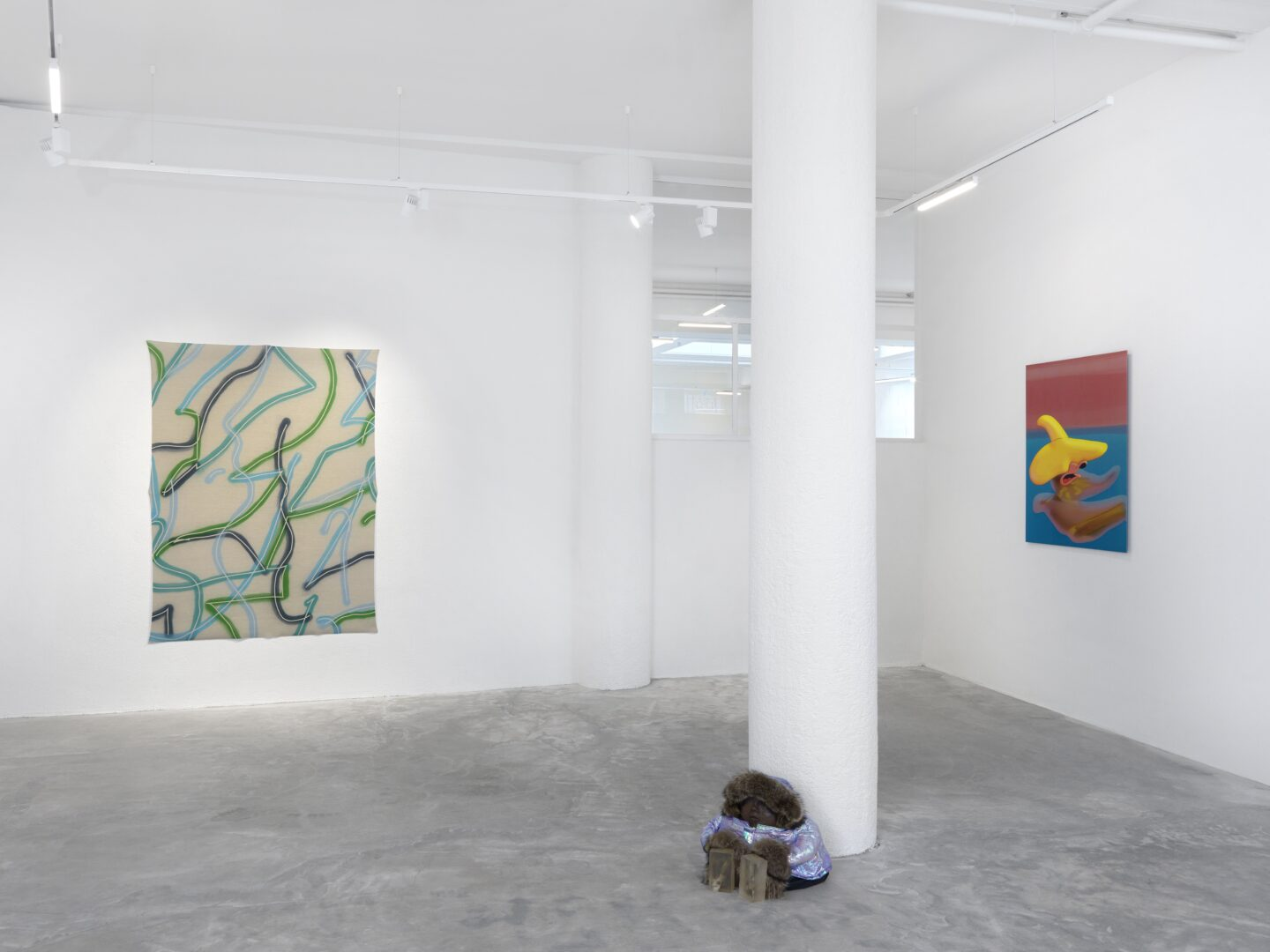 Exhibition View Groupshow «Swiss Made, Chapter II; view on Christelle Kahla, Dermaplast, 2018, Denis Savary, Öyvind, 2015» at Ribordy Thetaz, Geneva, 2020 / Photo: Annik Wetter / Courtesy: the artists and Ribordy Thetaz