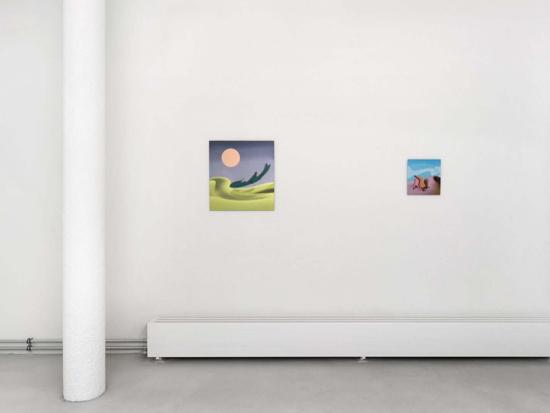 Exhibition View Groupshow «Swiss Made, Chapter II; view on Flora Mottini, Fuchur's Flight, 2019 and Flora Mottini, Bumpy's Slug, 2019» at Ribordy Thetaz, Geneva, 2020 / Photo: Annik Wetter / Courtesy: the artists and Ribordy Thetaz