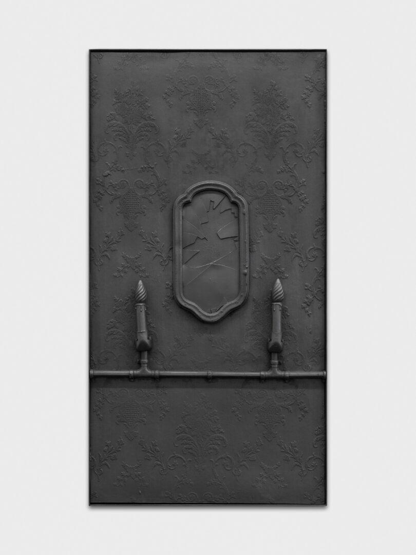 Exhibition View Rico Weber Soloshow «Silver Dust; view on Rico Weber, Zerbrochene Spiegel, 1993, acrylicresin, silicone, metal, 115x60cm» at Galerie Maria Bernheim, Zurich, 2020 / Photo: Annik Wetter / Courtesy: Galerie Maria Bernheim