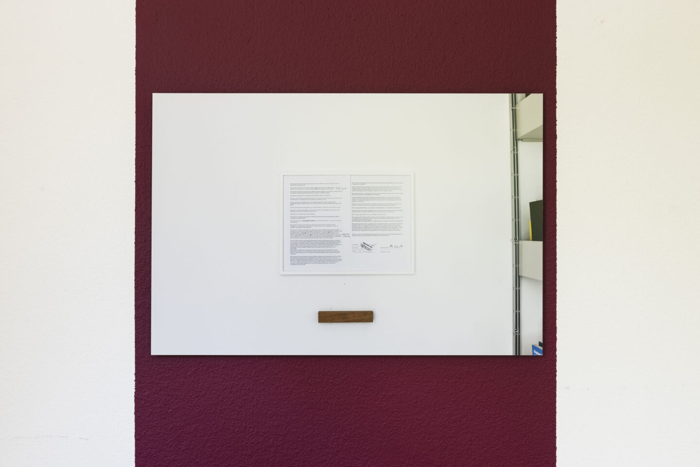 Exhibition View Bea Schlingelhoff Soloshow «soft mime win; view on softmimewin I (Düsseldorf, Galerie Max Mayer), 2020, documentation provided by Galerie Max Mayer, print on aluminum, 75x50 cm, cardinal wall paint, variable dimensions» at Cherish, Geneva, 2020 / Photo: James Bantone / Courtesy: the artist and Cherish