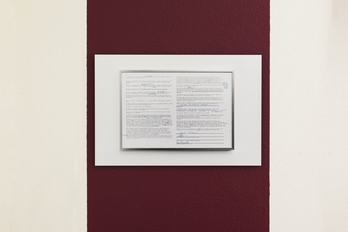 Exhibition View Bea Schlingelhoff Soloshow «soft mime win; view on softmimewin III (Basel, Kunsthalle Basel), 2020, documentation photo by Philipp Hänger, print on aluminum, 60x40 cm, cardinal wall paint, variable dimensions» at Cherish, Geneva, 2020 / Photo: James Bantone / Courtesy: the artist and Cherish