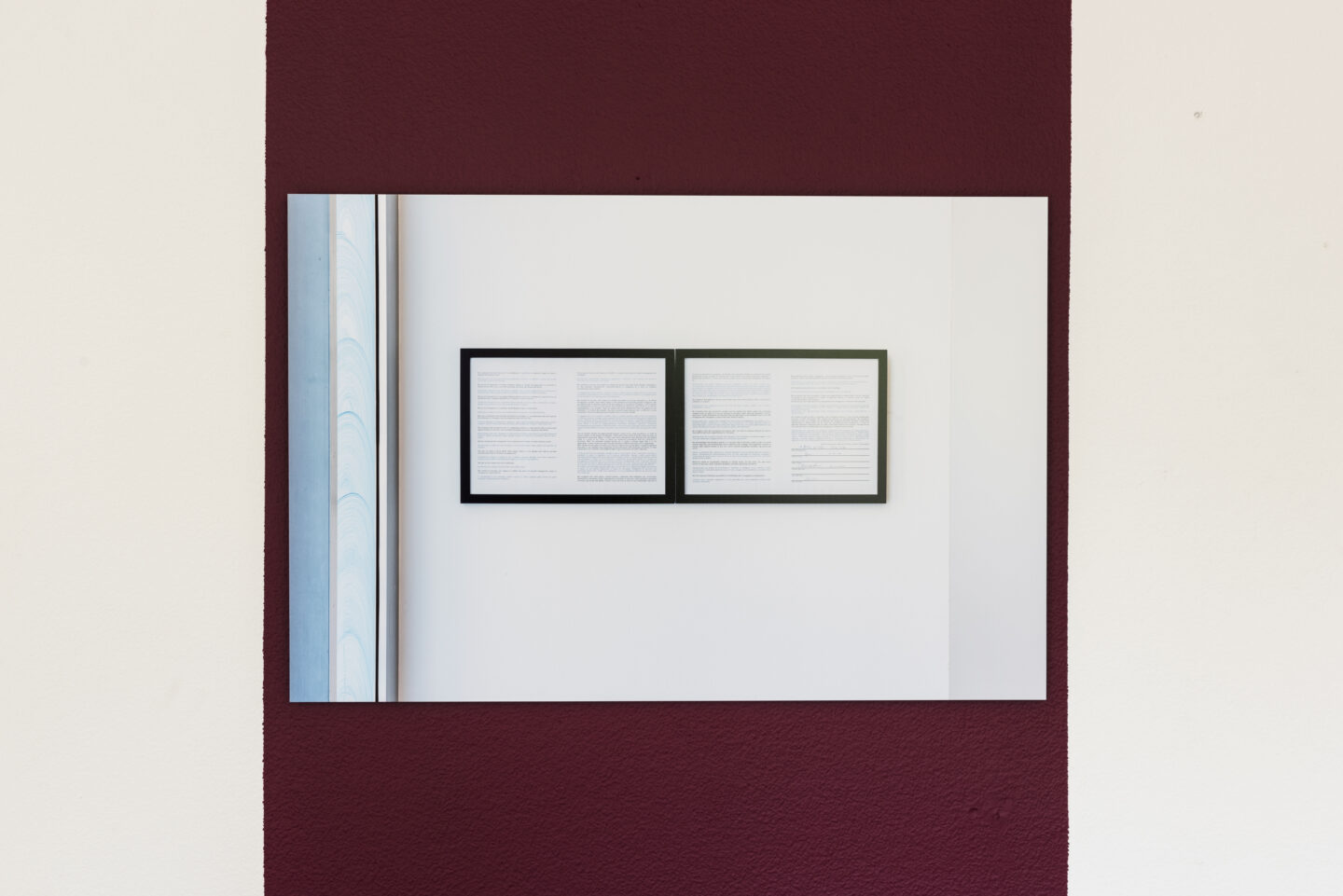 Exhibition View Bea Schlingelhoff Soloshow «soft mime win; view on softmimewin IV (Milan, Istituto Svizzero), 2020, documentation photo by Giulio Boem, print on aluminum, 90x60 cm, cardinal wall paint, variable dimensions» at Cherish, Geneva, 2020 / Photo: James Bantone / Courtesy: the artist and Cherish